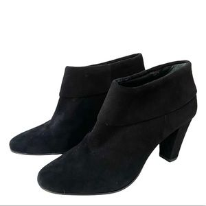 Kate Spade Black Suede Booties Cuffed Top Almond Toe Size 7.5M